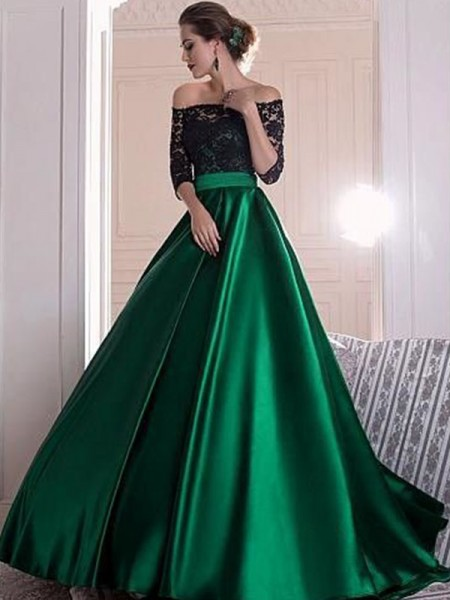 A-Line/Princess Off-the-Shoulder Ruffles 3/4 Sleeves Satin Long Dresses