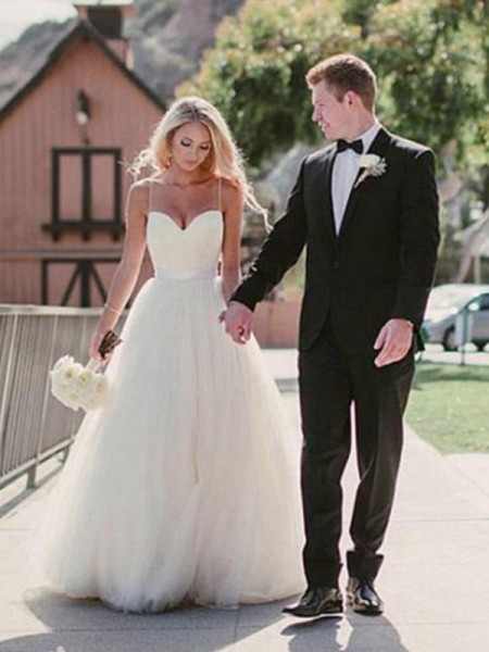 Ball Gown Sweetheart Sash Sleeveless Tulle Long Wedding Dresses