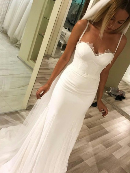 Sheath/Column Sweetheart Sleeveless Satin Long Wedding Dresses