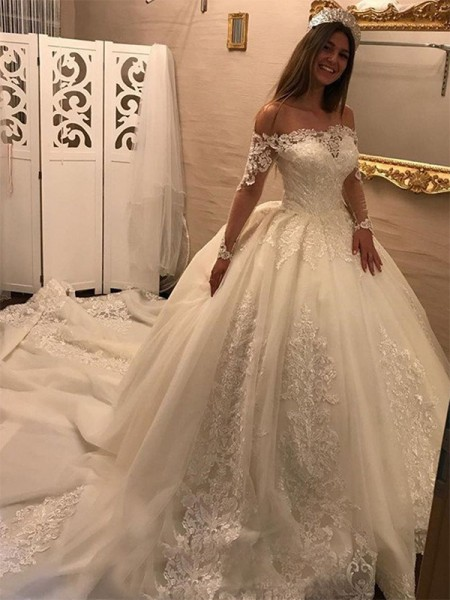 Ball Gown Off-the-Shoulder Applique Long Sleeves Tulle Cathedral Train Wedding Dresses