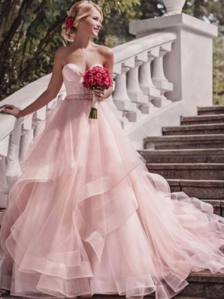 Ball Gown Sweetheart Layers Sleeveless Organza Court Train Wedding Dresses