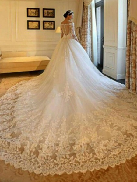 Ball Gown Off-the-Shoulder Beading 3/4 Sleeves Tulle Cathedral Train Wedding Dresses