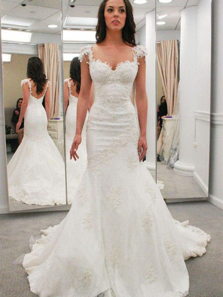 Trumpet/Mermaid Sweetheart Applique Short Sleeves Lace Chapel Train Wedding Dresses