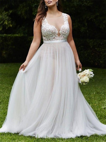 A-Line/Princess Scoop Lace Sleeveless Tulle Court Train Wedding Dresses