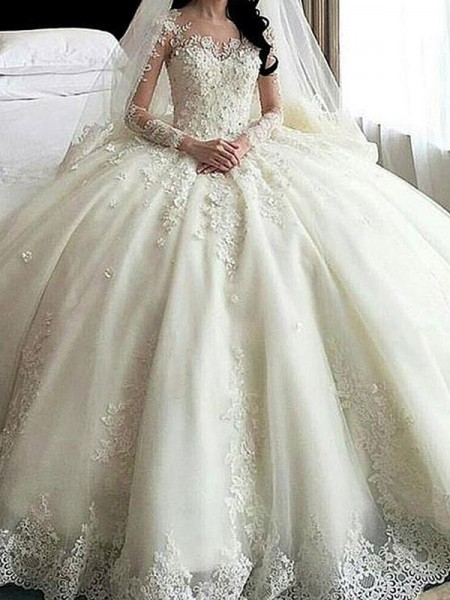 Ball Gown Scoop Applique Long Sleeves Tulle Cathedral Train Wedding Dresses