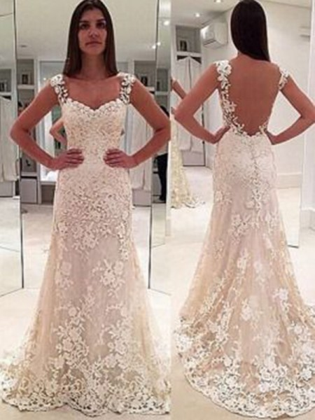 Sheath/Column Sweetheart Applique Sleeveless Lace Court Train Wedding Dresses