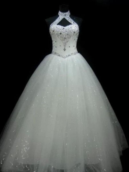 Ball Gown Halter Beading Sleeveless Tulle Long Wedding Dresses