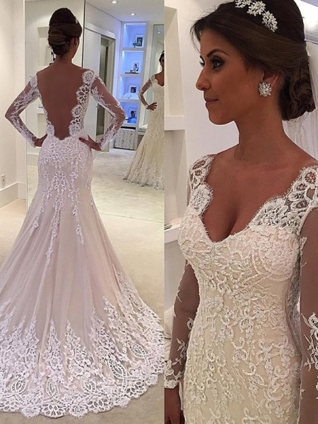 Trumpet/Mermaid V-neck Lace Long Sleeves Lace Court Train Wedding Dresses