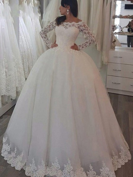 Ball Gown Off-the-Shoulder Applique Long Sleeves Lace Long Wedding Dresses
