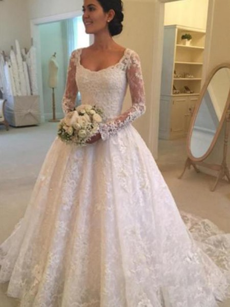 Ball Gown Scoop Ruffles Long Sleeves Lace Cathedral Train Wedding Dresses