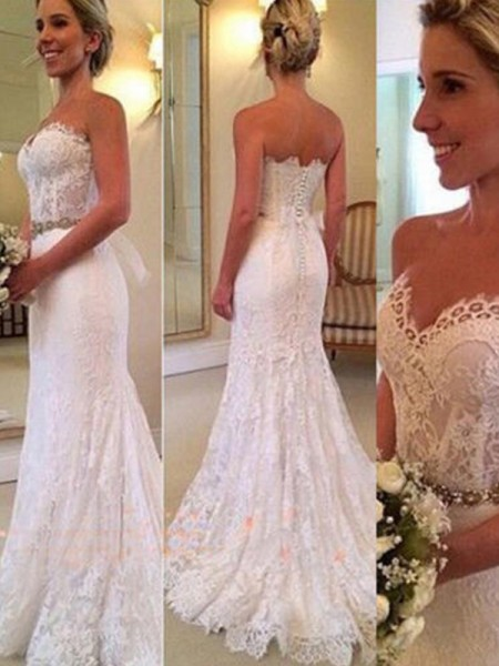 Trumpet/Mermaid Sweetheart Applique Sleeveless Lace Long Wedding Dresses