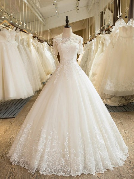 Ball Gown Off-the-Shoulder Applique 1/2 Sleeves Tulle Long Wedding Dresses