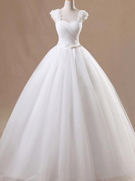 Ball Gown Square Ruffles Sleeveless Tulle Long Wedding Dresses