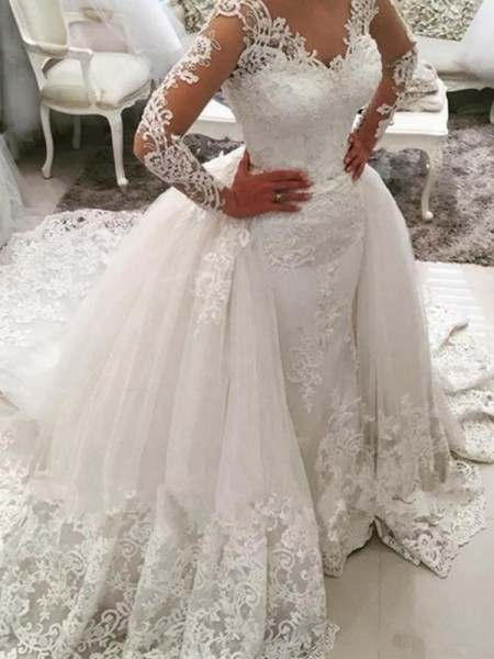 Ball Gown V-neck Applique Long Sleeves Tulle Cathedral Train Wedding Dresses