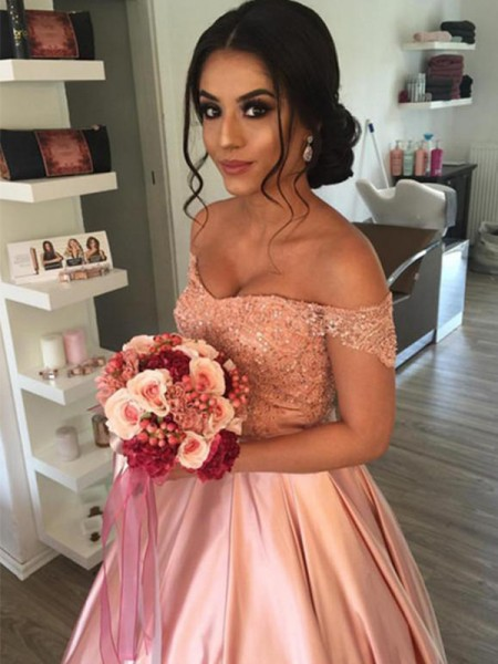 Ball Gown Off-the-Shoulder Ruffles Sleeveless Satin Cathedral Train Wedding Dresses