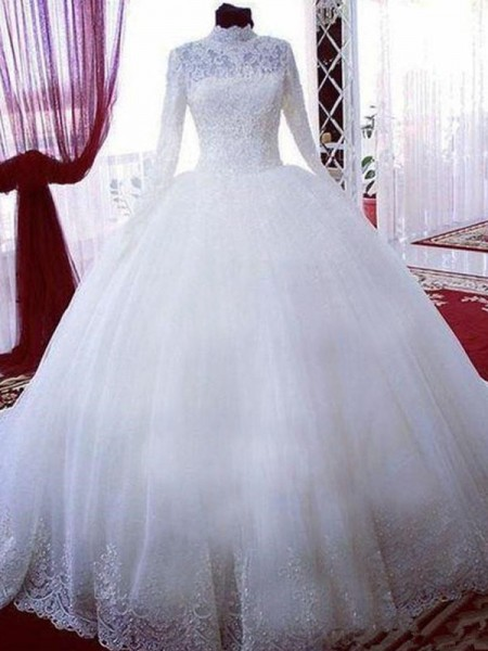 Ball Gown High Neck Lace Long Sleeves Tulle Chapel Train Wedding Dresses