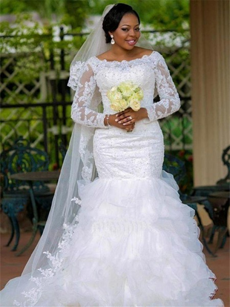 Ball Gown Scoop Applique Long Sleeves Tulle Chapel Train Wedding Dresses