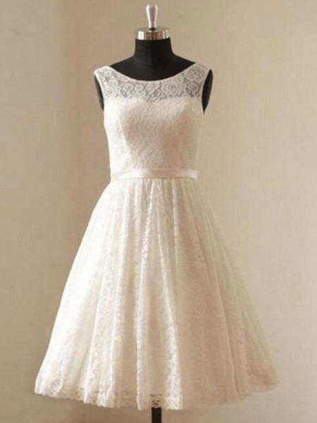 A-Line/Princess Scoop Sash/Ribbon/Belt Sleeveless Lace Knee-Length Wedding Dresses