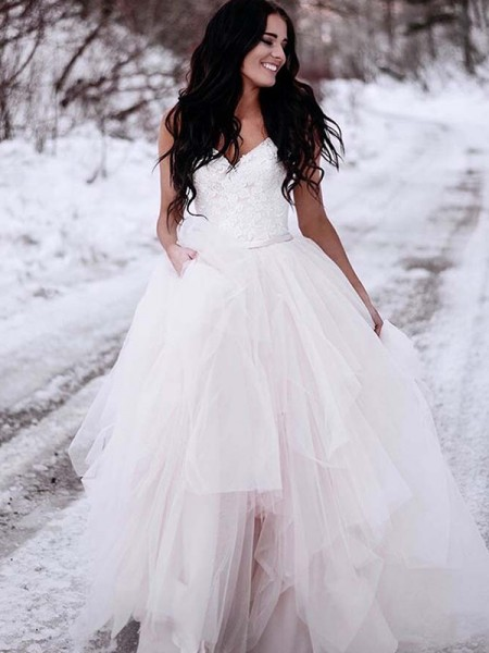 A-Line/Princess V-neck Ruched Sleeveless Tulle Long Wedding Dresses