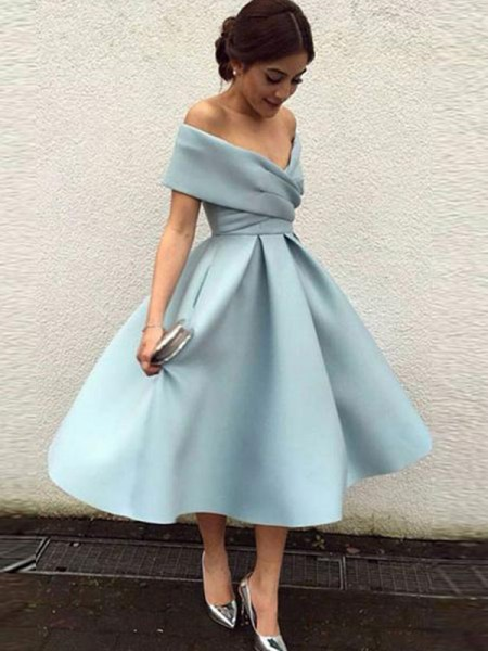 A-Line/Princess Off-the-Shoulder Ruffles Sleeveless Satin Tea-Length Dresses