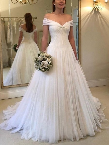 A-Line/Princess Off-the-Shoulder Ruched Sleeveless Tulle Long Wedding Dresses