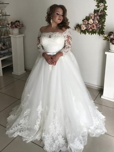 A-Line/Princess Off-the-Shoulder Lace Long Sleeves Tulle Long Wedding Dresses