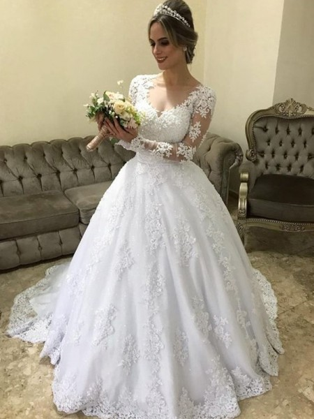 Ball Gown V-neck Applique Long Sleeves Satin Long Wedding Dresses