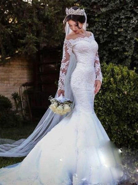 Trumpet/Mermaid Off-the-Shoulder Lace Long Sleeves Tulle Long Wedding Dresses