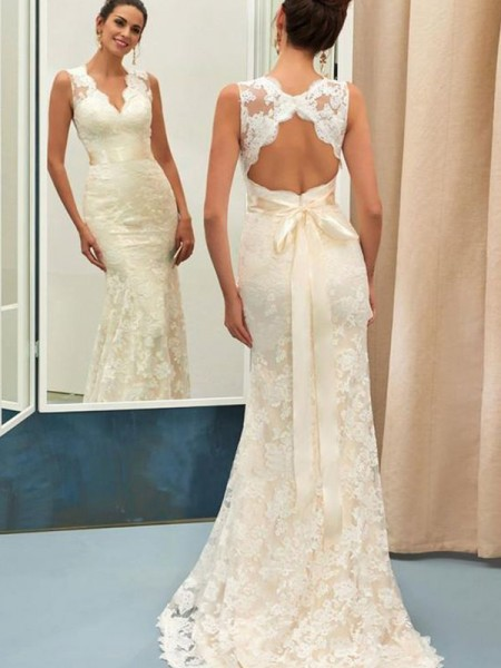 Trumpet/Mermaid V-neck Sash/Ribbon/Belt Sleeveless Lace Long Wedding Dresses