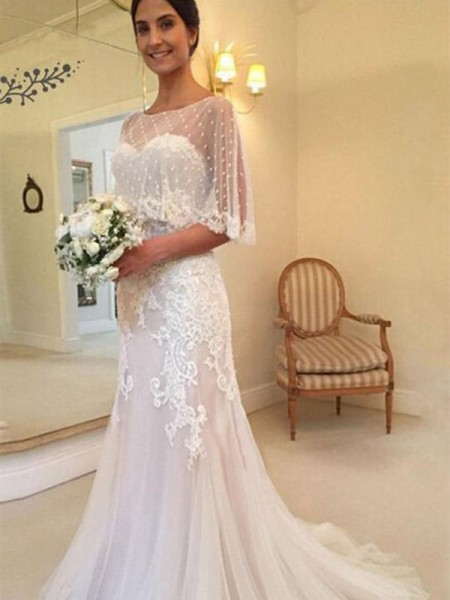 Sheath/Column Sweetheart Applique Sleeveless Tulle Long Wedding Dresses
