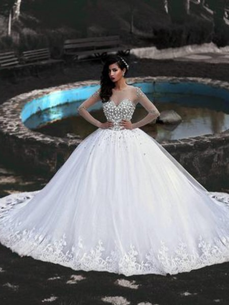 Ball Gown Scoop Beading Long Sleeves Tulle Long Wedding Dresses
