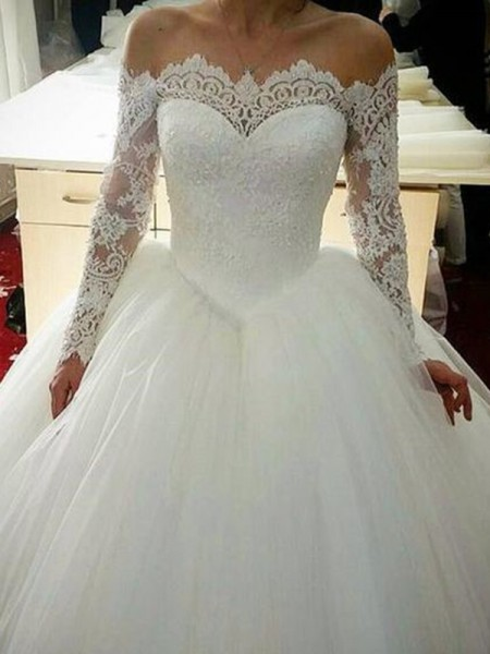 Ball Gown Off-the-Shoulder Applique Long Sleeves Tulle Long Wedding Dresses