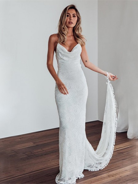 Sheath/Column Spaghetti Straps Lace Sleeveless Lace Long Wedding Dresses