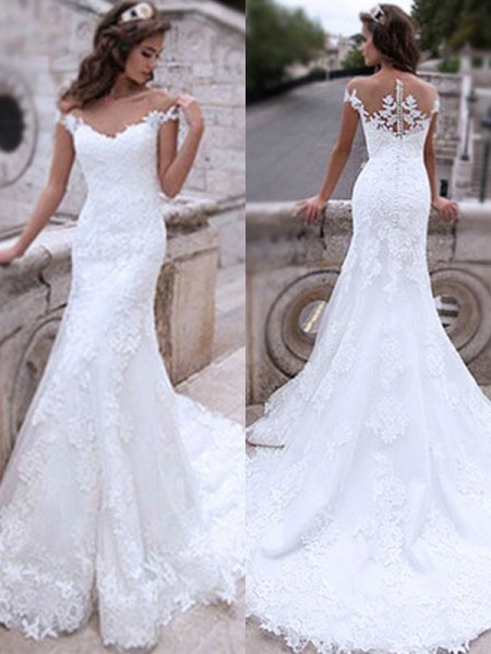 Trumpet/Mermaid Off-the-Shoulder Applique Sleeveless Tulle Long Wedding Dresses