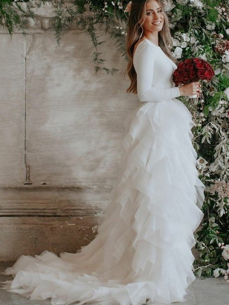 A-Line/Princess Scoop Ruffles Long Sleeves Tulle Long Wedding Dresses