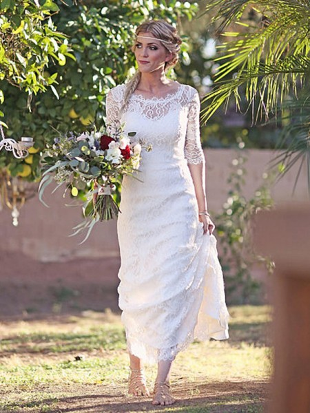 Sheath/Column Bateau Lace 1/2 Sleeves Lace Long Wedding Dresses