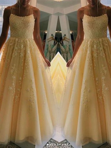 A-Line/Princess Sleeveless Applique Tulle Spaghetti Straps Floor-Length Dresses