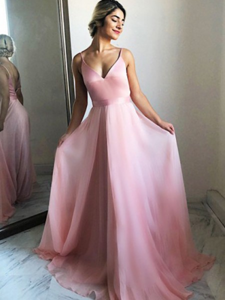 A-Line/Princess Sleeveless Ruffles Chiffon Spaghetti Straps Sweep/Brush Train Dresses
