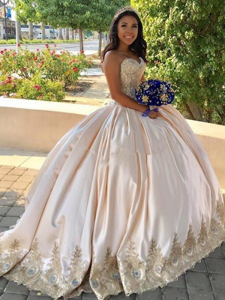 Ball Gown Sleeveless Sweep/Brush Train Sweetheart Beading Satin Dresses