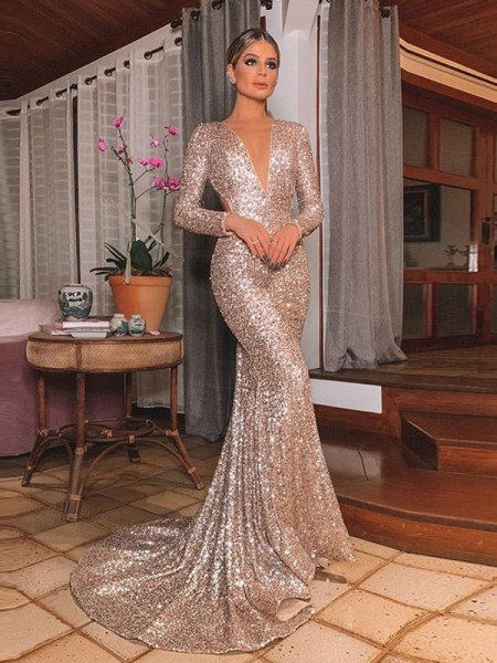 Trumpet/Mermaid Sweep/Brush Train Sequins Ruffles V-neck Long Sleeves Dresses