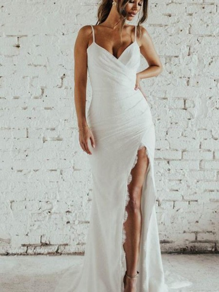 Sheath/Column Spaghetti Straps Ruched Chiffon Sleeveless Sweep/Brush Train Wedding Dresses