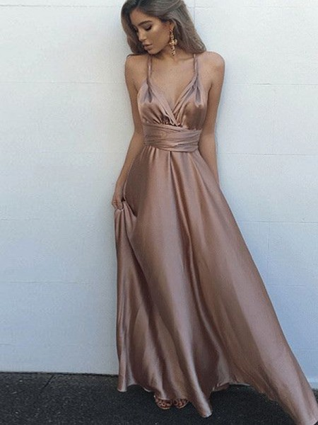 A-Line/Princess Silk Like Satin Sleeveless Sash/Ribbon/Belt Spaghetti Straps Long Dresses