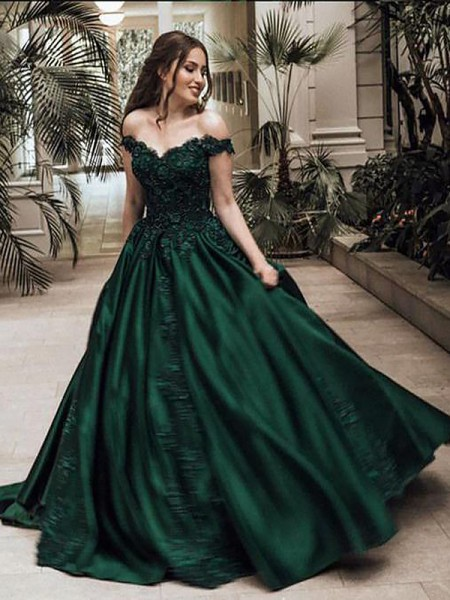 Ball Gown Satin Sleeveless Lace Off-the-Shoulder Long Dresses