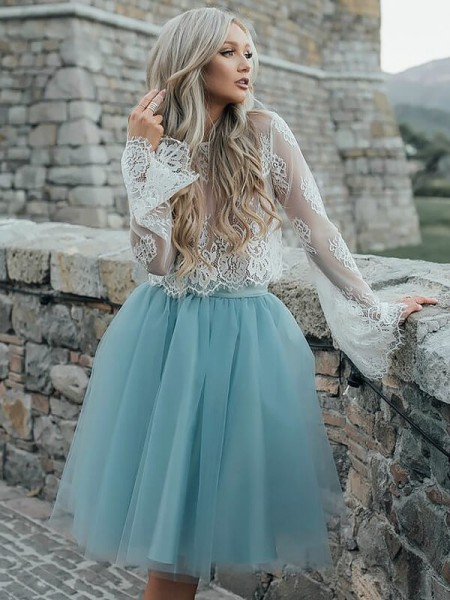 A-line/Princess Scoop Long Sleeves Tulle Short Dresses