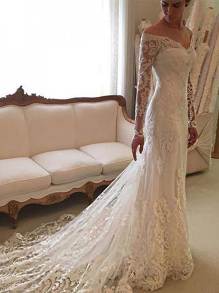 Sheath/Column Off-the-Shoulder Long Sleeves Lace Court Train Wedding Dresses