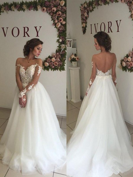 A-Line/Princess Off-the-Shoulder Long Sleeves Organza Long Wedding Dresses