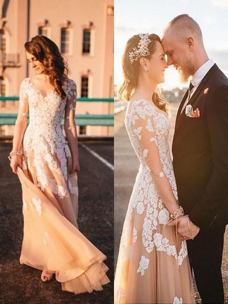 A-Line/Princess V-neck Long Sleeves Tulle Long Wedding Dresses