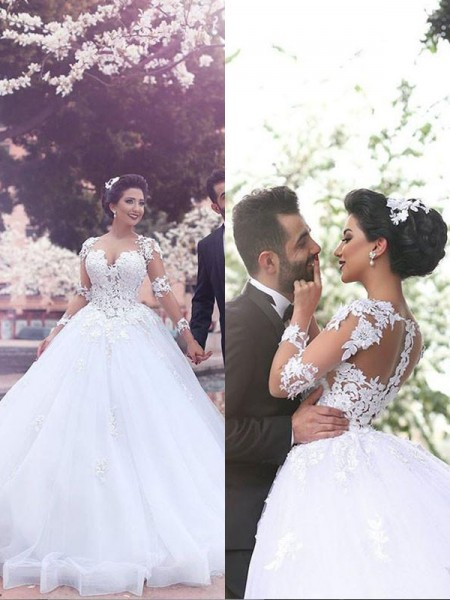 Ball Gown Sweetheart Long Sleeves Tulle Court Train Wedding Dresses