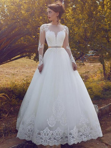 Ball Gown Bateau Long Sleeves Tulle Long Wedding Dresses