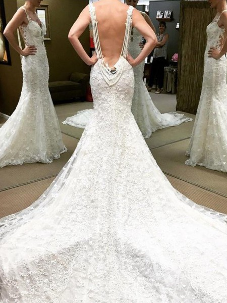 Ball Gown Off-the-Shoulder Short Sleeves Lace Long Wedding Dresses